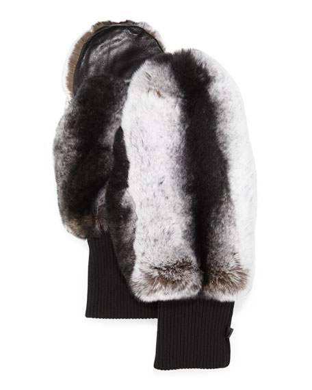 Glamourpuss NYC Rabbit Fur/Knit Mittens, Black