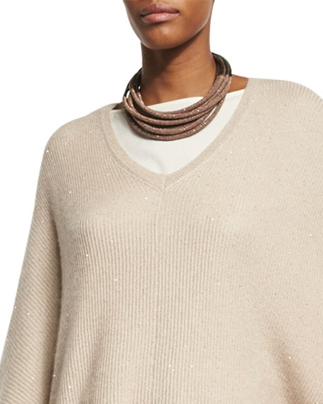 Brunello Cucinelli Leather Multi-Strand Choker with Monili