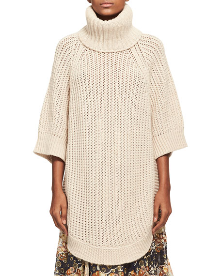 Chloe Oversized Chunky Open-Knit Turtleneck Poncho, Beige