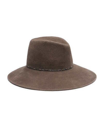 Emmanuelle Wool Felt Wide-Brim Fedora, Brown-Gray