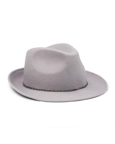 Max Wool Felt Fedora Hat, Gray