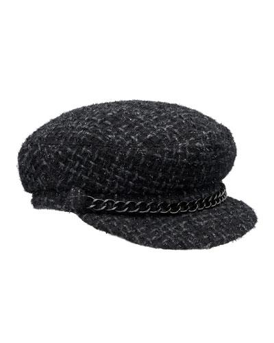 Marina Tweed Newsboy Hat, Black
