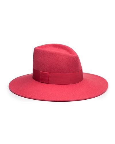 Harlowe Wool Felt Panama Hat, Pink