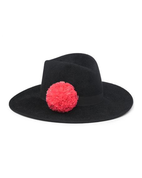 Dita Wool Felt Panama Hat, Black