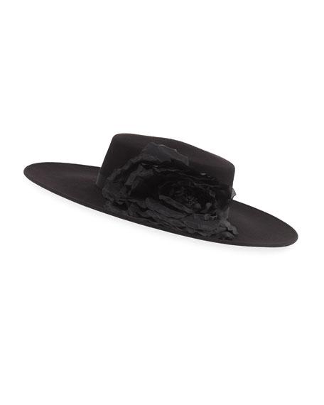 Femi Tonal-Flower Wool Boater Hat