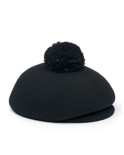 Ogden Wool Newsboy Hat, Black