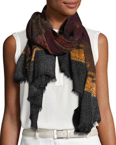 Odessa Patterned Wool Scarf, Black/Bordeaux