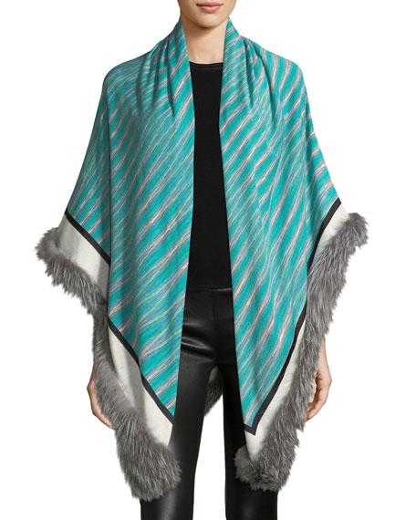 Fur-Trim Striped Stole