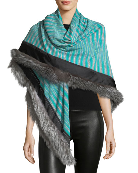 Missoni Fur-Trim Striped Stole