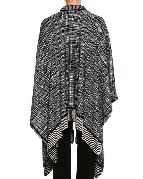Plaid Knit Poncho, Black Pattern