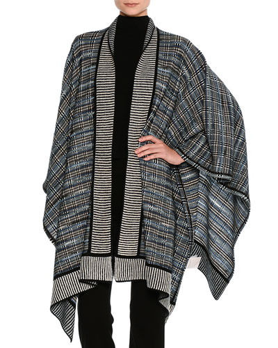 Plaid Knit Poncho, Black Pattern