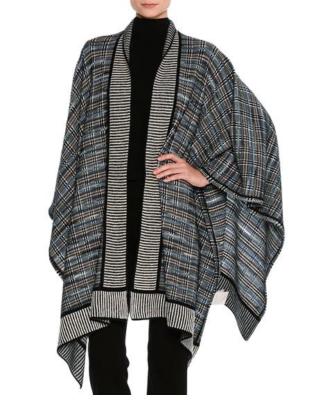 Missoni Plaid Knit Poncho, Black Pattern