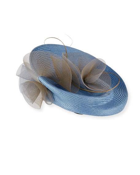 Heliconia Round Structured Sinamay Hat, Light Blue