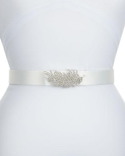Lolette Satin Crystal Belt, Ivory