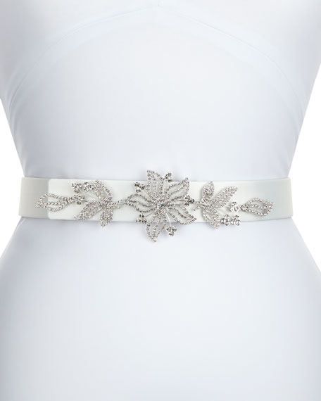 Deborah Drattell Carolina Satin Crystal Belt, White