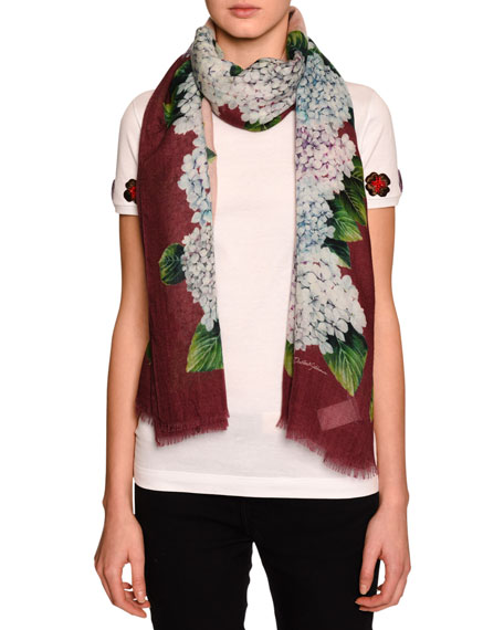 Hydrangea Silk Gauze Scarf, Multicolor