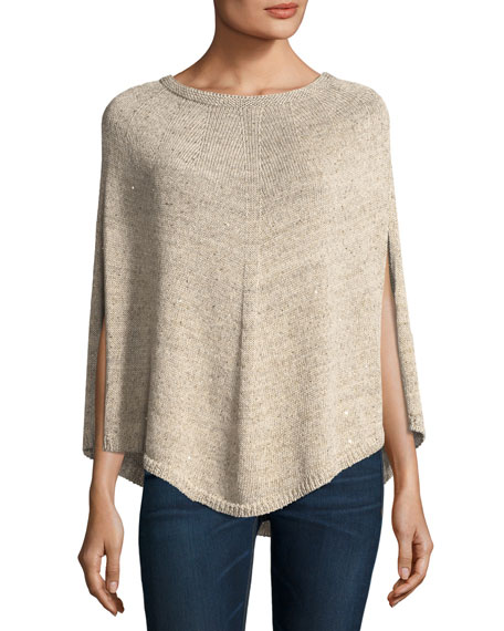 Il Borgo Sequined Linen/Cotton Knit Curved-Hem Poncho