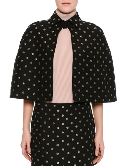 Embroidered Crepe Couture Capelet, Black