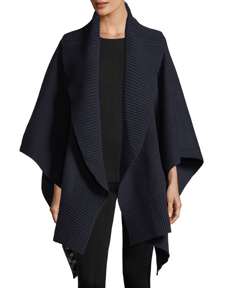 Burberry Cashmere-Wool Ribbed Poncho, Indigo