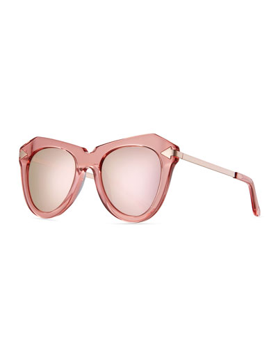 One Star Faceted Cat-Eye Sunglasses, Pink