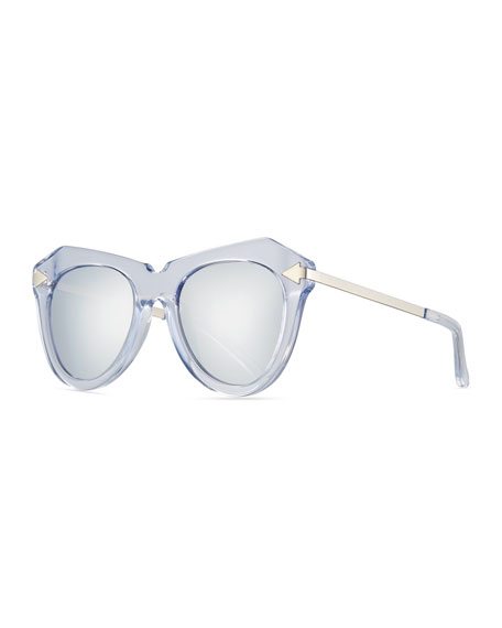Karen Walker One Star Faceted Cat-Eye Sunglasses, White