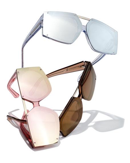 Salvador Square-frame Acetate Mirrored Sunglasses - Pink Karen Walker 56fHw