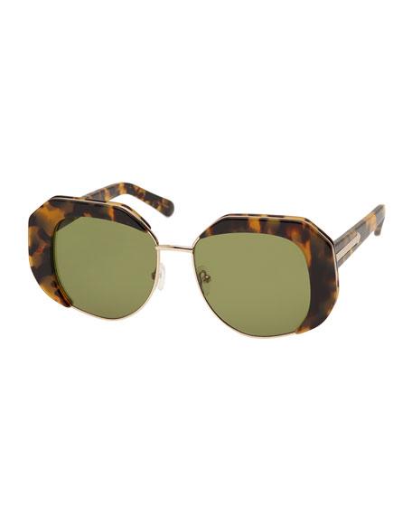 Domingo Geometric Acetate Sunglasses, Crazy Tortoise