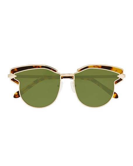 Felipe Metal Sunglasses, Crazy Tortoise/Yellow Gold