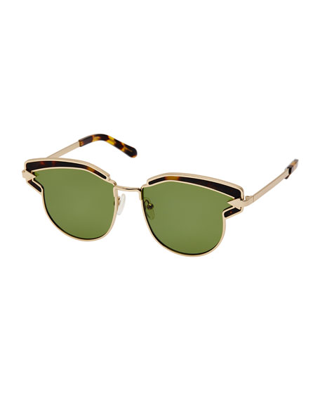 Karen Walker Felipe Metal Sunglasses, Crazy Tortoise/Yellow Gold