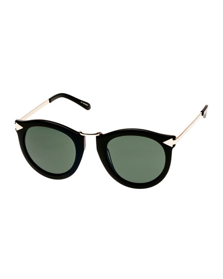 Karen Walker Harvest Round Monochromatic Sunglasses, Crazy