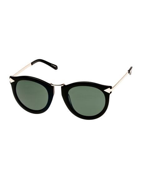Karen Walker Harvest Round Monochromatic Sunglasses, Crazy