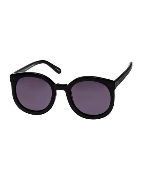 Karen Walker Super Duper Strength Monochromatic Sunglasses, Black