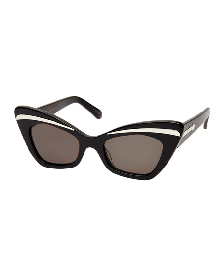 Karen Walker Babou Cat-Eye Sunglasses, Black