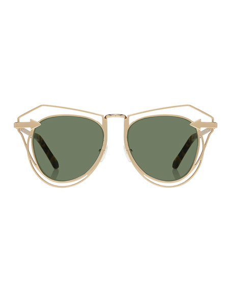 Marguerite Square Monochromatic Sunglasses, Yellow Gold/Crazy Tortoise