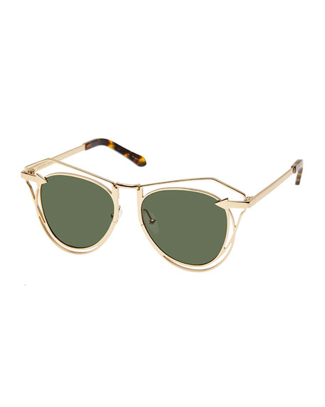 Karen Walker Marguerite Square Monochromatic Sunglasses, Yellow
