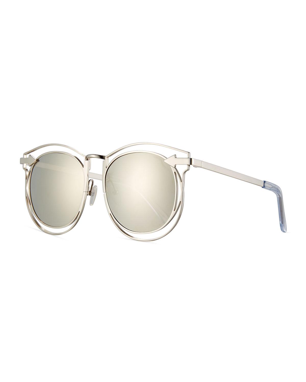 1cce8a9384bd8 Karen Walker Simone Round Mirrored Sunglasses