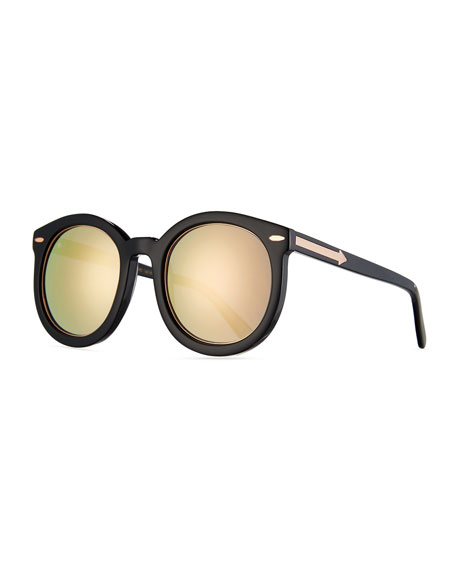 Karen Walker Super Duper Mirrored Sunglasses, Black