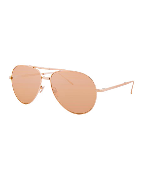 Linda Farrow Foldable Aviator Sunglasses, Rose Gold