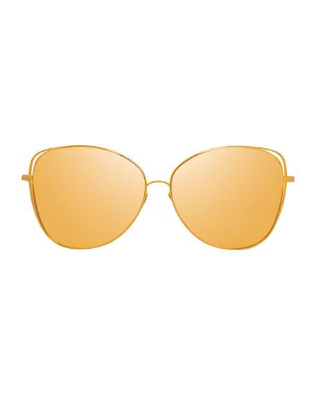 Open-Inset Mirrored Cat-Eye Sunglasses, Gold