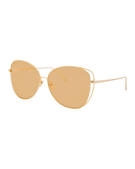 Linda Farrow Open-Inset Mirrored Cat-Eye Sunglasses, Gold