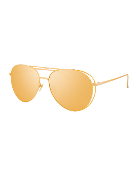 Linda Farrow Open-Inset Aviator Sunglasses, Gold
