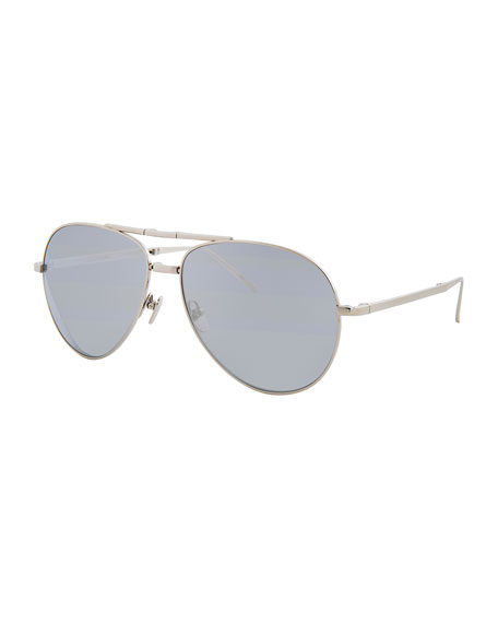 Linda Farrow Foldable Aviator Sunglasses, White Gold