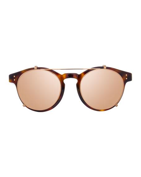 Round Acetate Sunglasses w/ Clip-On Lenses, Rose Gold/Tortoise