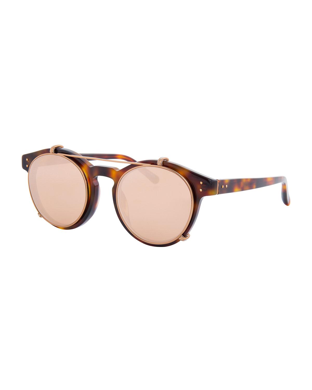 28d8c28174fe Linda Farrow Round Acetate Sunglasses w  Clip-On Lenses