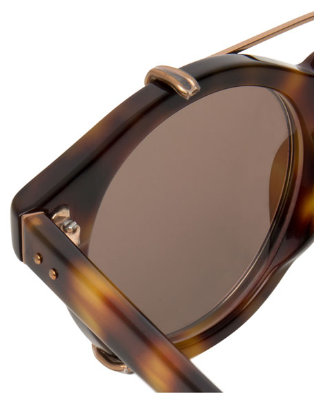 Round Acetate Sunglasses w/ Clip-On Lenses, Rose Gold/Tortoise