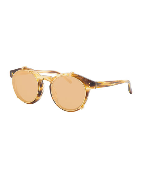 Round Acetate Sunglasses W/ Clip-On Lenses, Gold/Horn, Brown