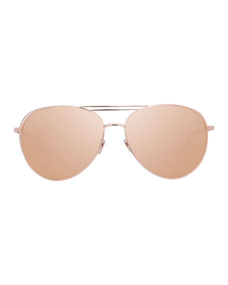 Open-Inset Aviator Sunglasses, Rose Gold