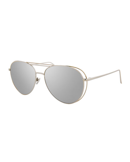 Linda Farrow Open-Inset Aviator Sunglasses, White Gold