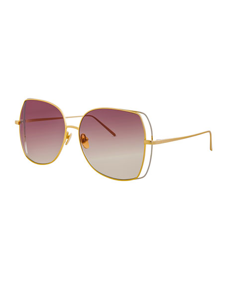 Linda Farrow Oversized Open-Inset Butterfly Sunglasses, Gold