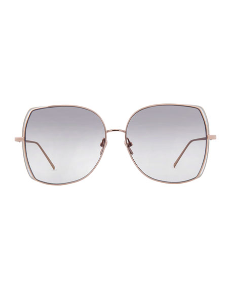 Oversized Open-Inset Butterfly Sunglasses, Rose Gold